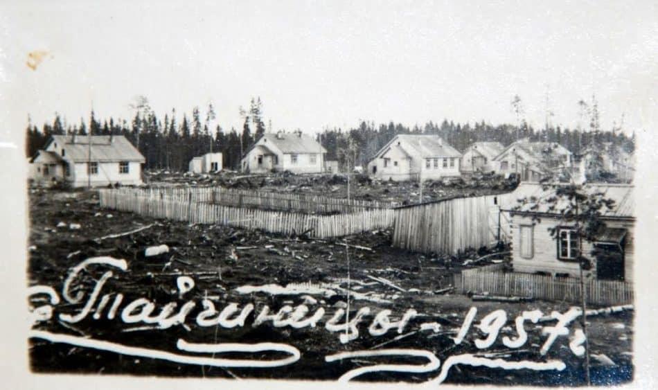 Вид на поселок Тайгиницы Медвежьегорского района, 1957 г. Фото из личного архива Ольги Анисимовны Кособуцкой