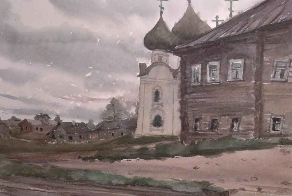 М. Старченко. Северная деревня. Дом возле храма