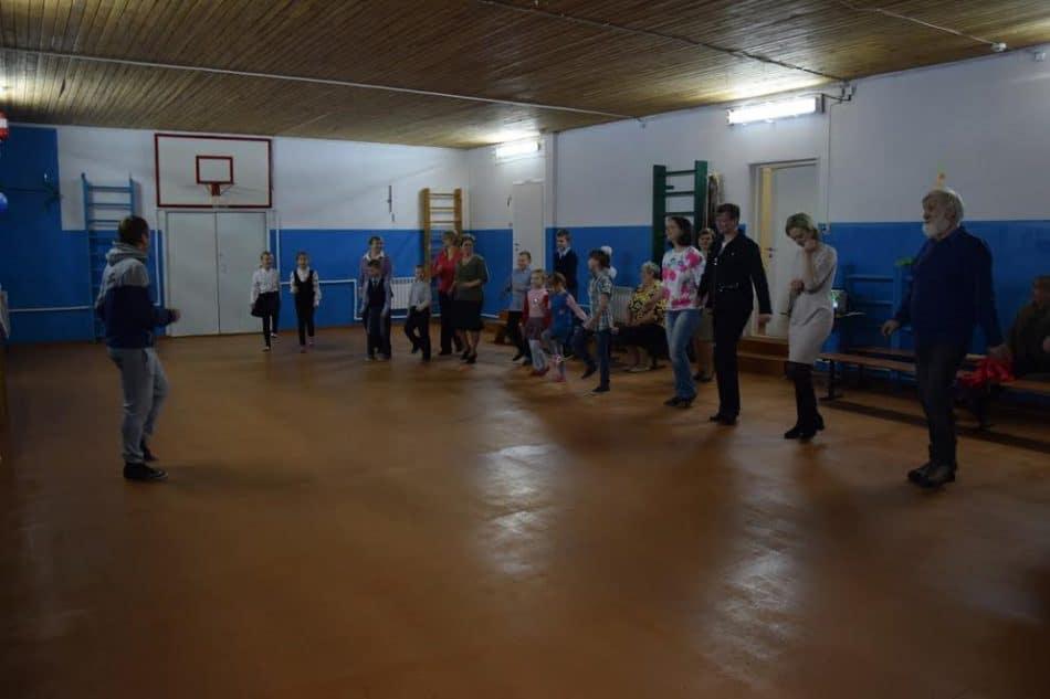 Первое занятие в отремонтированном спортзале