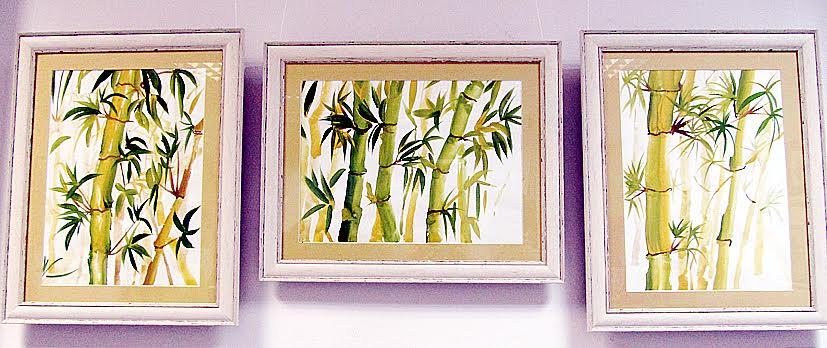 Настасья Ясева (изостудия «Летающий кит»). Триптих «Бамбук». Китайская живопись. Гуашь