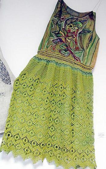 Наталья Киприянова (студия «Красочный мир под солнцем»). Платье «Осеннее настроение». Смешанная техника