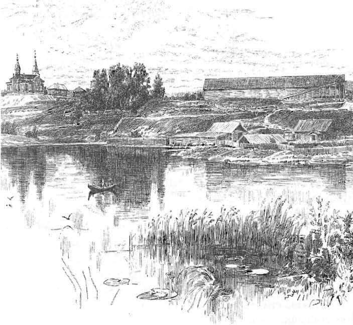 Кончезерский завод. Вид на церковь. 1886 год