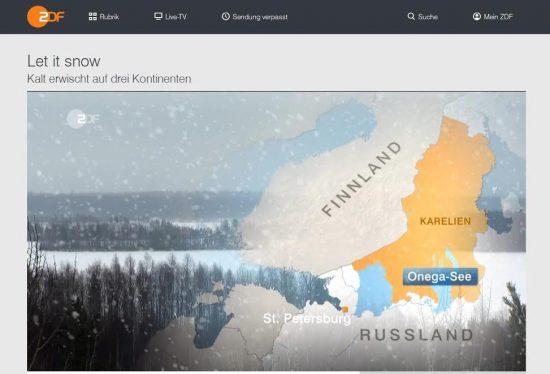 Сюжеты о зимней жизни в Карелии показаны в эфире телеканала ZDF