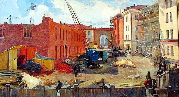 С. Грязев. На стройке в Петрозаводске. 1957 год