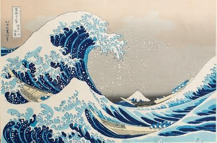 Кацусика Хокусай. Волны в открытом море у побережья Канагава. Из серии «Тридцать шесть видов Фудзи». Цветная ксилография.1830-1831