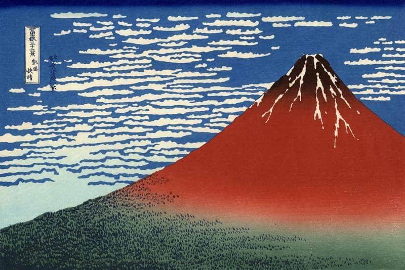 Кацусика Хокусай. Победный ветер. Ясный день. Красная Фудзи
