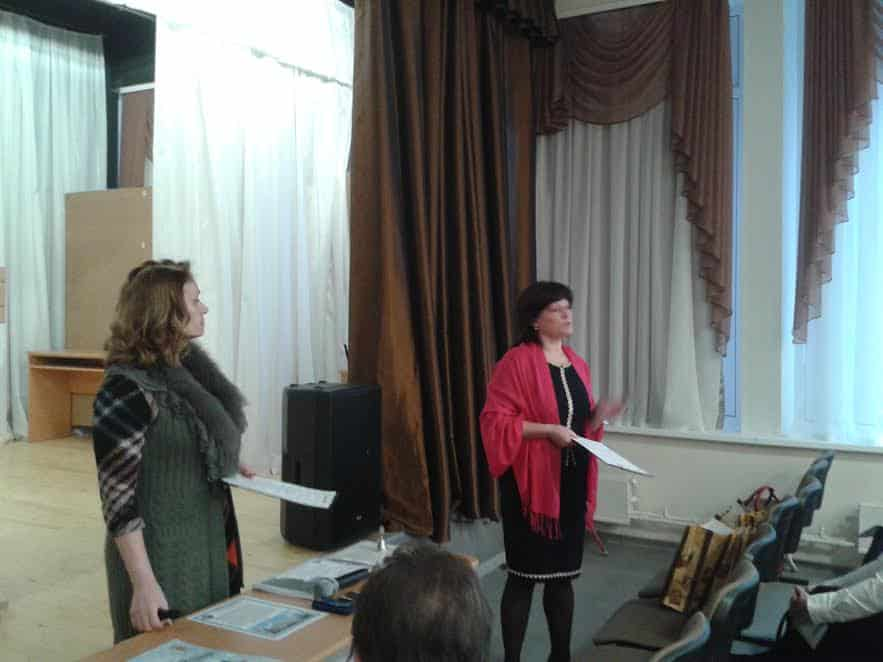 Итоги конкурса подводят С.И. Смирнова (слева) и Т.Ю. Паевская