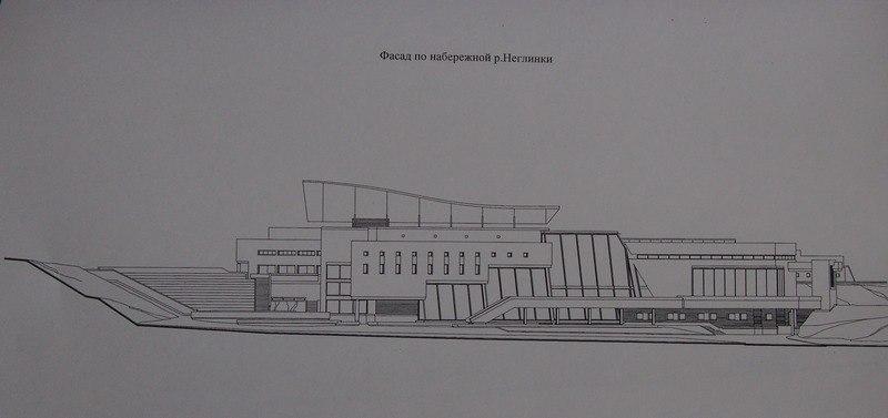 А так мог выглядеть комплекс Петрозаводской консерватории с залом на берегу реки Неглинка. Проект Александра Пертякова. Не случилось...