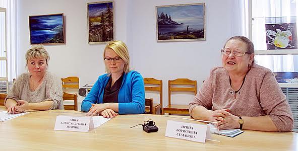 Участники пресс-конференции (слева направо): Т. Леднева, А. Томчик, И. Семакова
