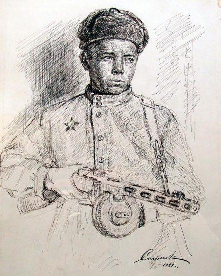 Рисунок Г.А. Стронка «Партизан». 1944 год