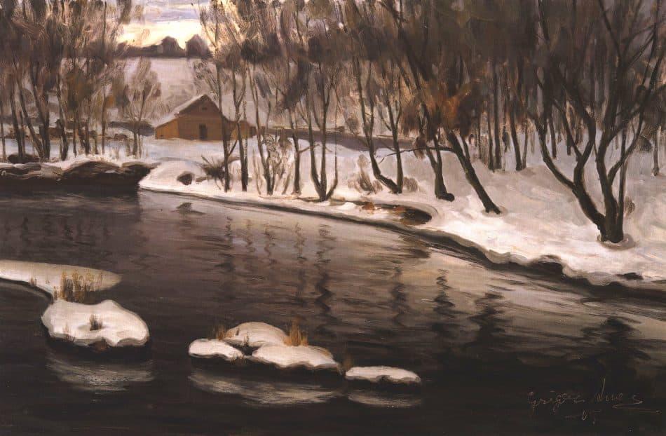 Григор Ауэр. Зимний речной пейзаж. 1905 год