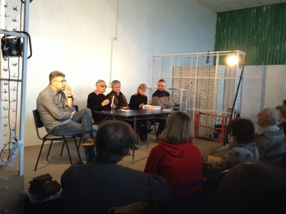 Во время обсуждения (слева направо): Александр Фукс, Григорий Фукс, Андрей Дежонов, Людмила Исакова, Егор Кукушкин