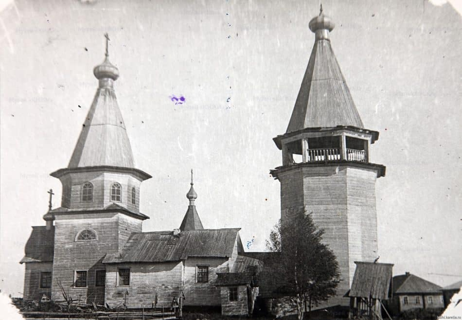 Варваринская церковь из села Яндопомозера. Фото первой половины ХХ века. Фото с сайта музея-заповедника «Кижи»