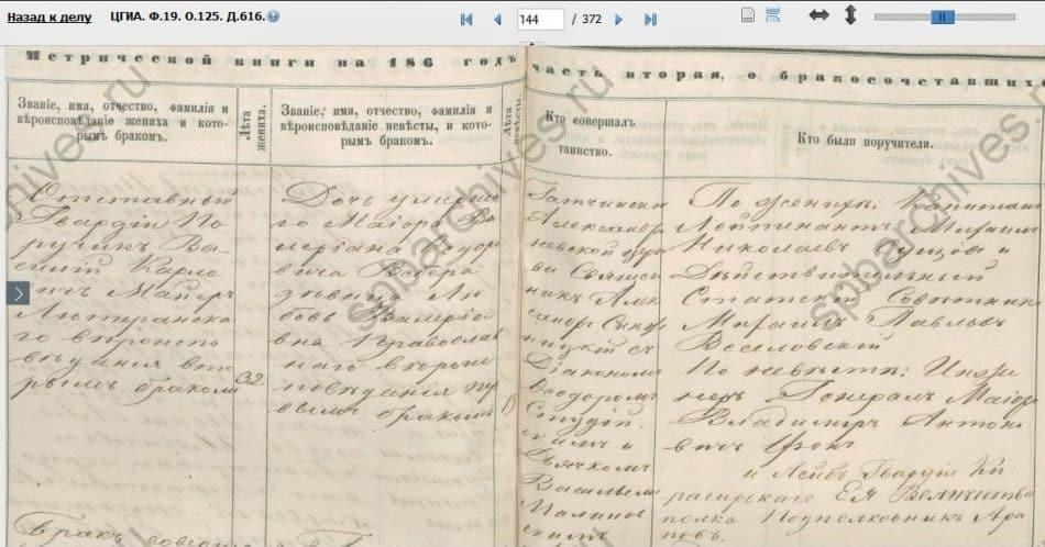 Запись о браке Василия Карловича Майера и Любови Валериановны Вебер