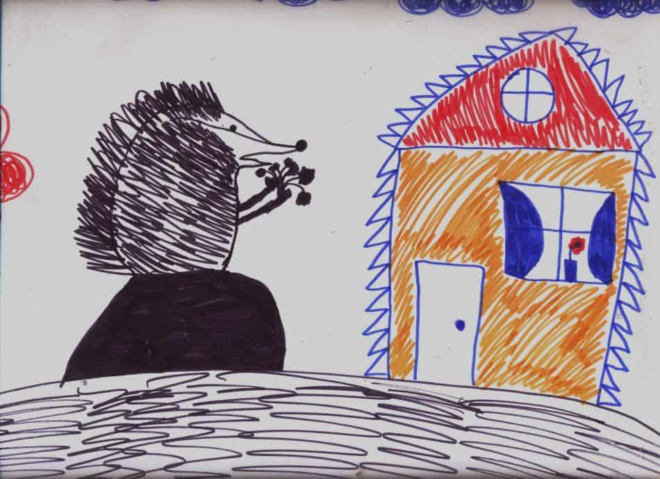 Рисунок Юли Ивановой к истории про Ёжика–писателя