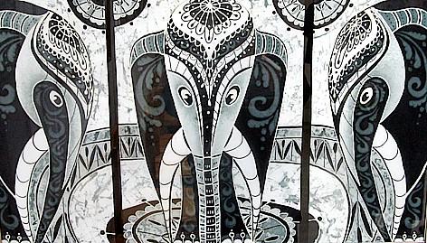 Ольга Голубовская (Шлихтова). Слоны-фараоны. Холодный батик