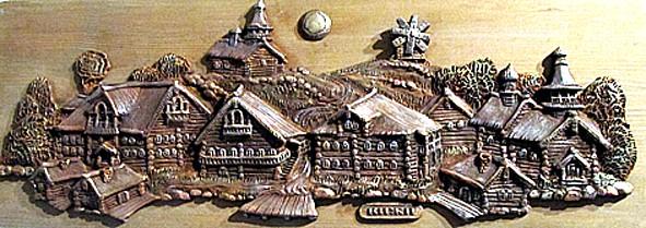 Юлия Гущина. Панно «Кижи». Керамика, дерево, акрил