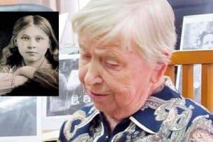 Дуся Тарасова  в августе 1943-го и Евдокия Васильевна Аникиева (Тарасова) на встрече в Национальном архиве в марте 2017-го