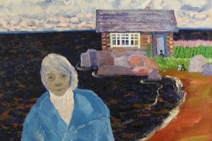 Екатерина Пехова. Автопортрет на фоне моего дома, которого нет. 1986