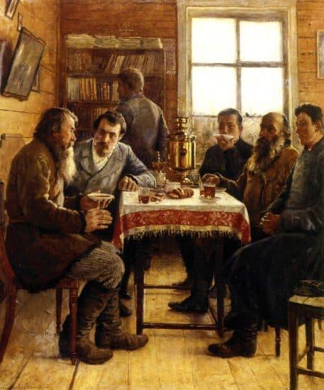 Николай Богданов-Бельский. В гостях у учителя. 1901