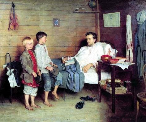 Николай Богданов-Бельский. У больного учителя. 1897