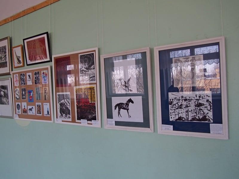 В петрозаводской средней школе №29 открыта необычная выставка художника и педагога Евгении Лебедевой. Фото Ирины Ларионовой