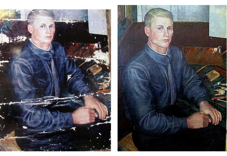 М. Цыбасов. Автопортрет (слева – до реставрации, справа – после реставрации). Реставрация: А.И. Байер. 2004 г.