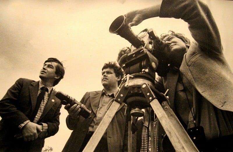 Слева направо: журналист Сергей Никулин, режиссер Александр Кустов и оператор Виктор Яроцкий. Фото Владимира Ларионова