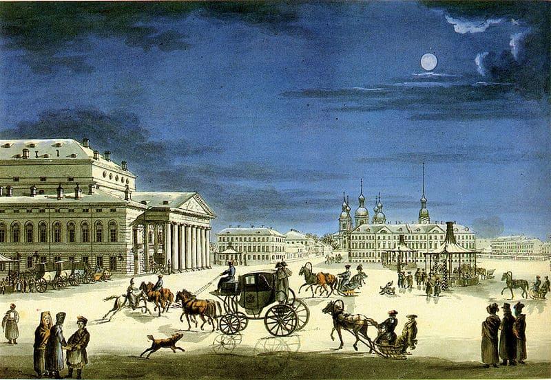 Вид Большого (Каменного) театра после перестройки по проекту Тома де Томона. С гравюры неизвестного художника 1810 г.