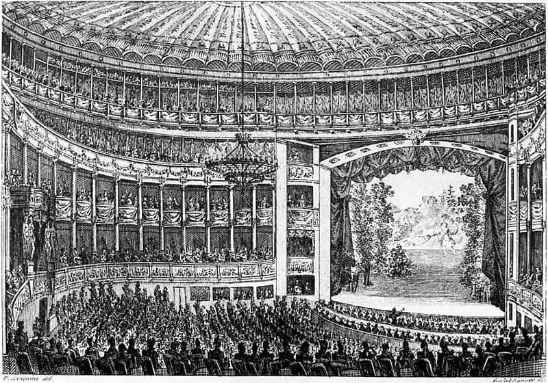 Зал Большого (Каменного) театра. Гравюра С.Ф.Галактионова, 1828 год