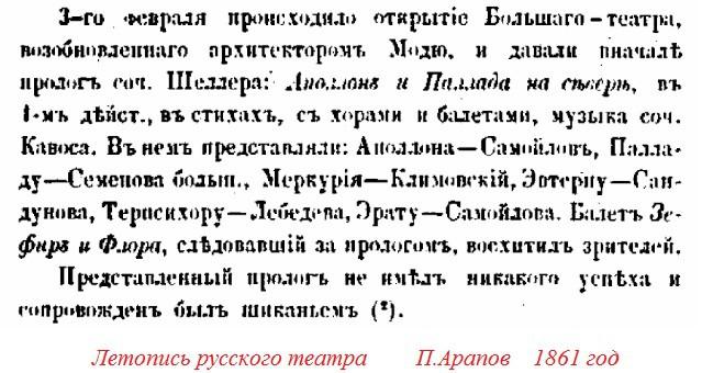 Из книги первого историографа русского театра Пимена Арапова
