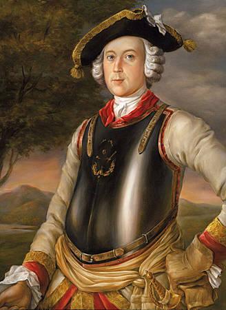 Карл Фридрих Иероним фон Мюнхгаузен (в мундире кирасира). Г. Брукнер, 1752  Единственный портрет настоящего барона