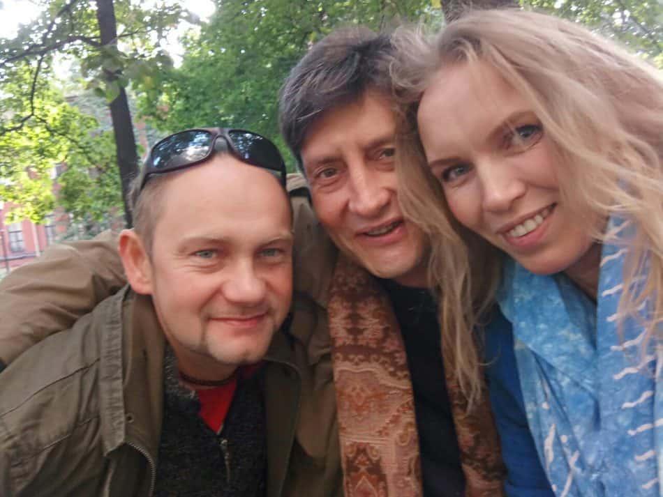 Вячеслав Поляков и Ольга Портретова с учителем Арвидом Зеландом (в центре)