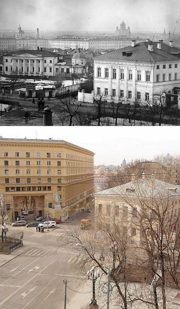 Дом Телешова в Москве, раньше и теперь. На этом месте стоял дом моего четырежды прадеда. Иоганна Рудольфа Мейера.