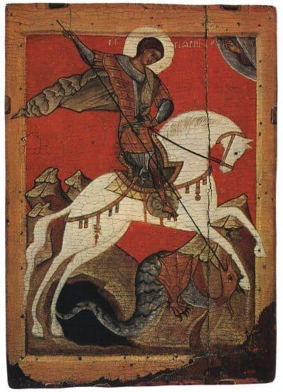 Святой Георгий. Новгородская икона, XIV век. Русский музей
