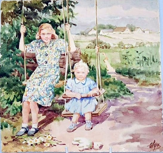 О.А. Романова-Куликовская. Невестка с внучкой на качелях