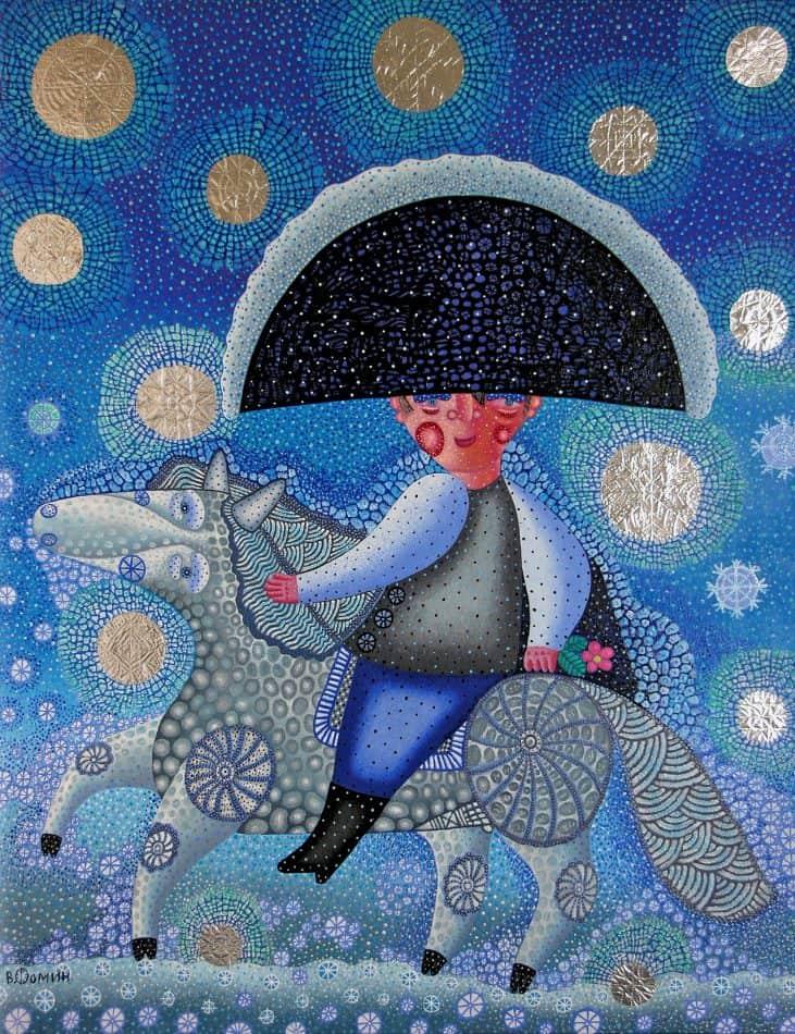 В.Фролов. Наполеон в снегу. Серия «Лубок». 2005 г. Холст, масло. 75х60 см.