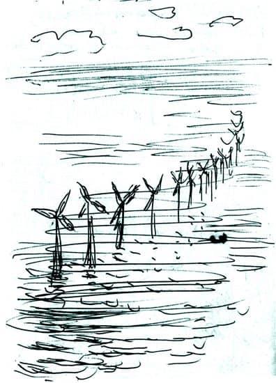 Ветряные мельницы в море