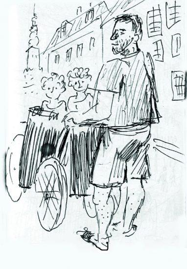 Борис Акбулатов. Житель Копенгагена на прогулке с детьми