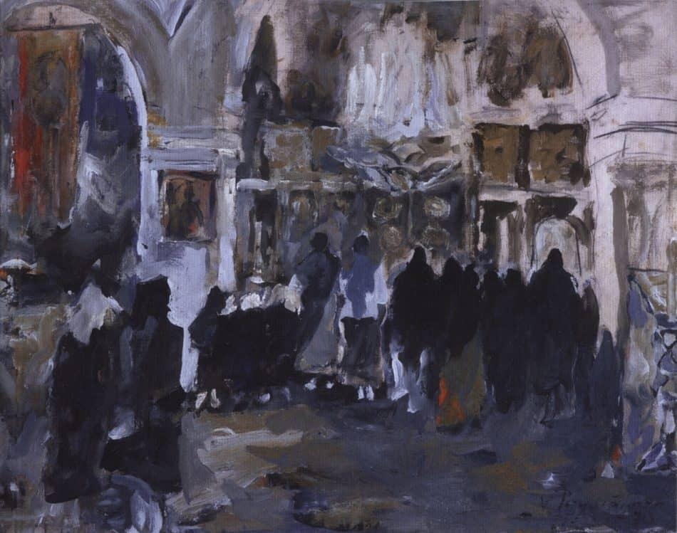 Церковный интерьер. 1970, смешанная техника