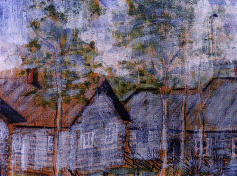 Родной дом в Питкяранте. 1947- 1948, акварель