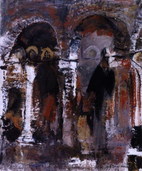 Церковный интерьер. 1963, темпера