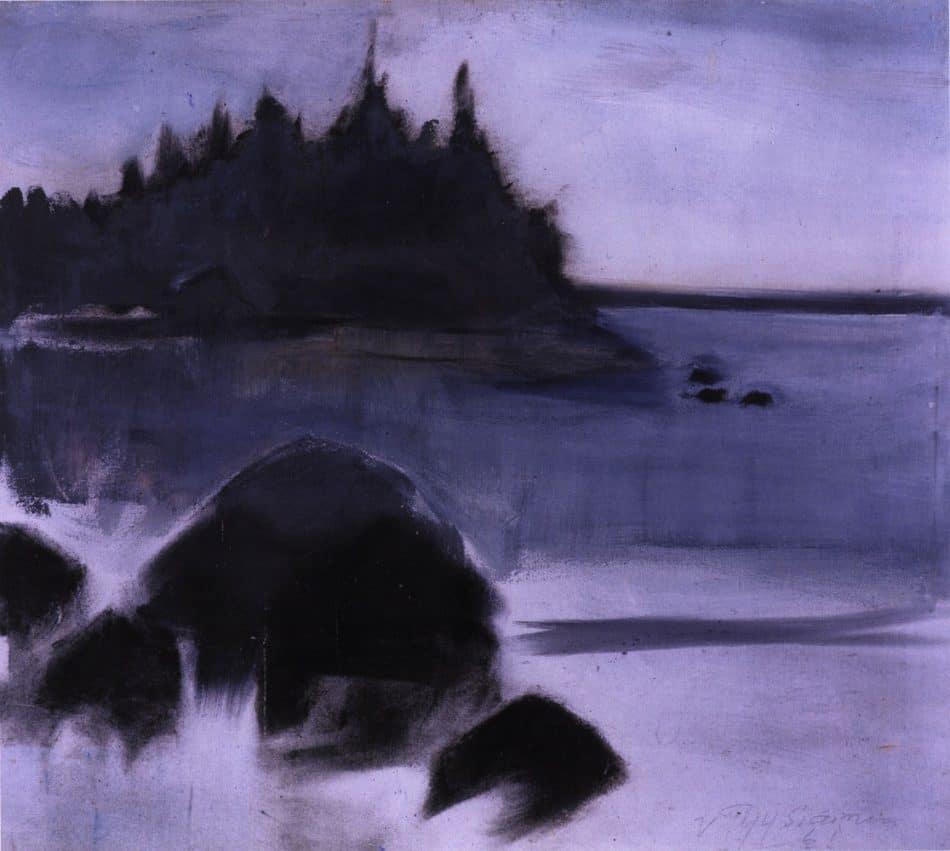Озерный пейзаж. 1961, темпера