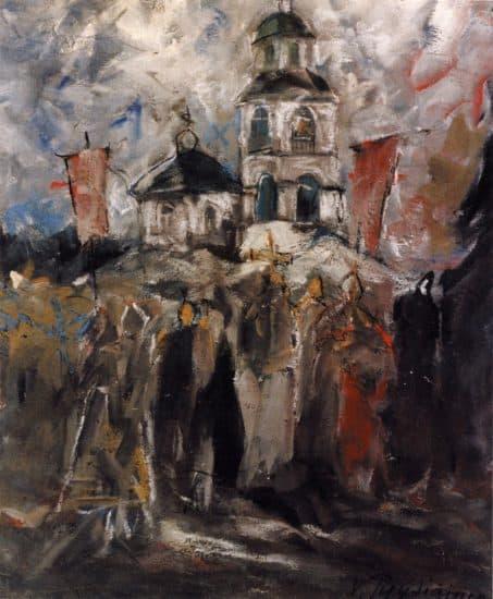 Крестный ход следует в Салминскую церковь. 1967, темпера