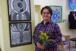 Ольга Шлихтова-Голубовская на выставке