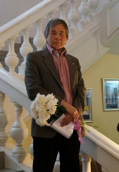 Лев Бурин на открытии персональной выставки в Музее изобразительных искусств Карелии. Март 2014 года. Фото Ирины Ларионовой