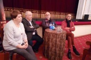 Участники пресс-конференции (слева направо): Елена Ларионова, Михаил Гольденберг, Александр Петров, Вячеслав Окунев