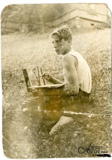 Николай Брюханов в летнем лагере на этюдах. Лето 1934 года
