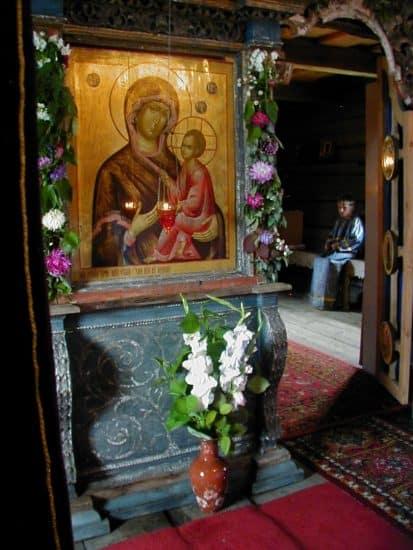 Тихвинская икона Божией Матери в иконостасе Успенского храма