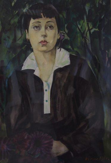 Лев Бурин. Девушка в саду. Акварель